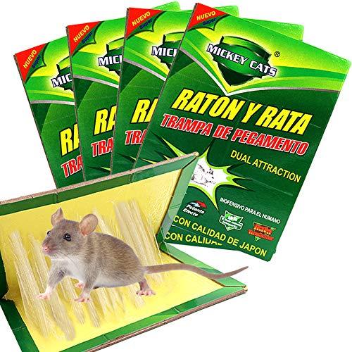 ZOORE 4 Unidades , Profesional Trampa para Ratónes, fácil de Usar ratón Adhesivas para ratoncillos y (34cm x 22cm)