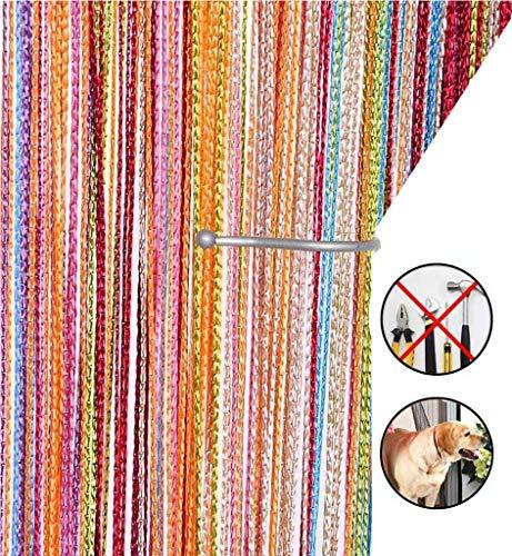 AIZESI Cortina Retro Lisa con Flecos para Puerta Divisor Puertas o Ventanas 90 x 200 cm Un Arcoiris